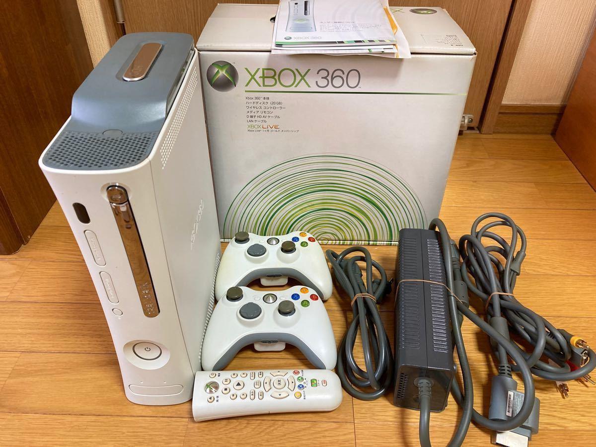 xbox360 本体 20GBコントローラー2個 リモコン 箱 ケーブル類 付属