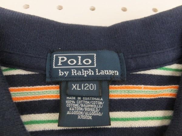 〈送料280円〉Polo by Ralph Lauren ラルフローレン メンズ キッズ ワンポイント刺繍 ボーダー 半袖ポロシャツ XL(20) 紺MIX_画像2