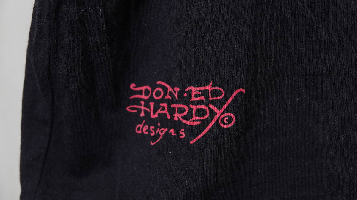 ★美品 USA製DON ED HARDYエドハーディー タトゥスカルプリントラインストーン半袖Tシャツ  古着ユーズド男性メンズL黒ブラック美品_画像10