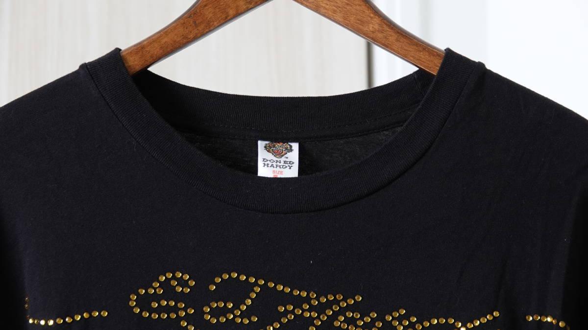 ★美品 USA製DON ED HARDYエドハーディー タトゥスカルプリントラインストーン半袖Tシャツ  古着ユーズド男性メンズL黒ブラック美品_画像2