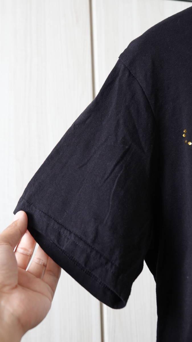 ★美品 USA製DON ED HARDYエドハーディー タトゥスカルプリントラインストーン半袖Tシャツ  古着ユーズド男性メンズL黒ブラック美品_画像6
