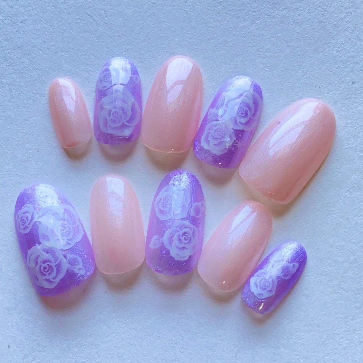 ジェルネイル ピンクパープルベース薔薇ネイルチップ