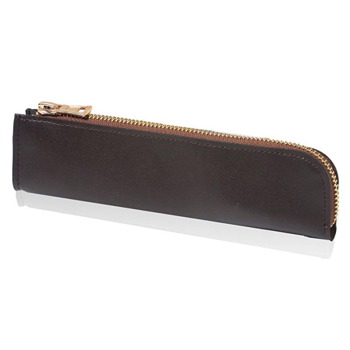 ペンケース 革 レザー 筆箱 大容量 軽量 シンプル (ダークブラウン)