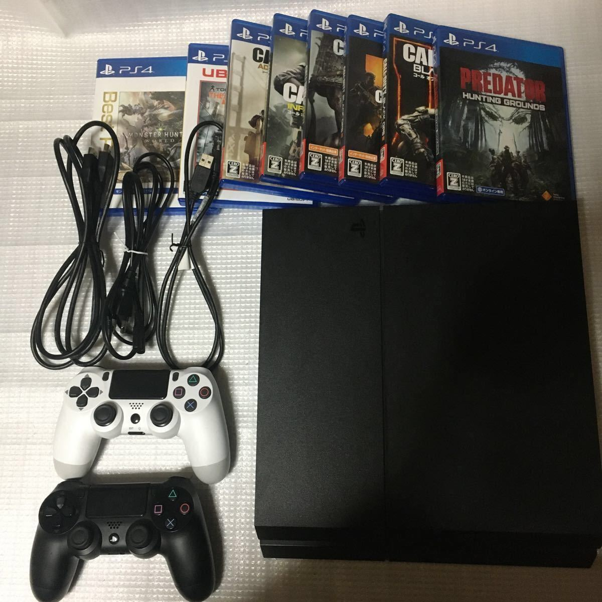 専用!!!PS4 本体+ソフト14本に変更!送料無料!!ジェット・ブラック 500GB CUH-1200AB01 COD モンハン