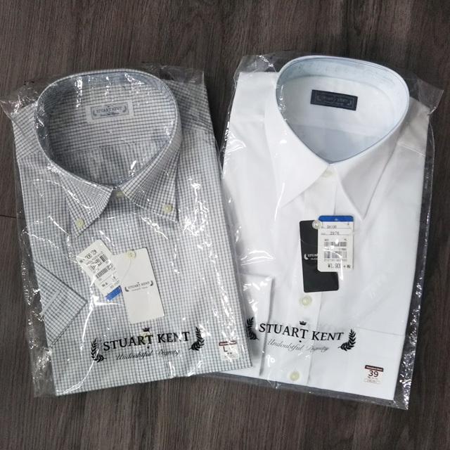未使用 STUART KENT ワイシャツ 2点セット 半袖 Lサイズ チェック 長袖 39サイズ ホワイト スチュアートケント