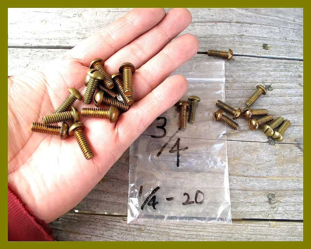 【M】USA UNC インチネジ 真鍮ブラス 太さ1/4山数20長さ3/4 5本 直径6.35mm アメリカ ハーレー マイナス ラウンドヘッド _画像3
