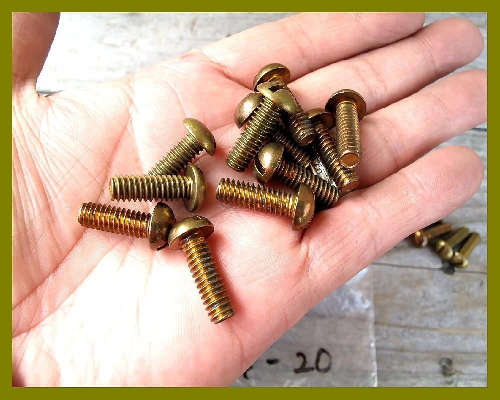 【M】USA UNC インチネジ 真鍮ブラス 太さ1/4山数20長さ3/4 5本 直径6.35mm アメリカ ハーレー マイナス ラウンドヘッド _画像2
