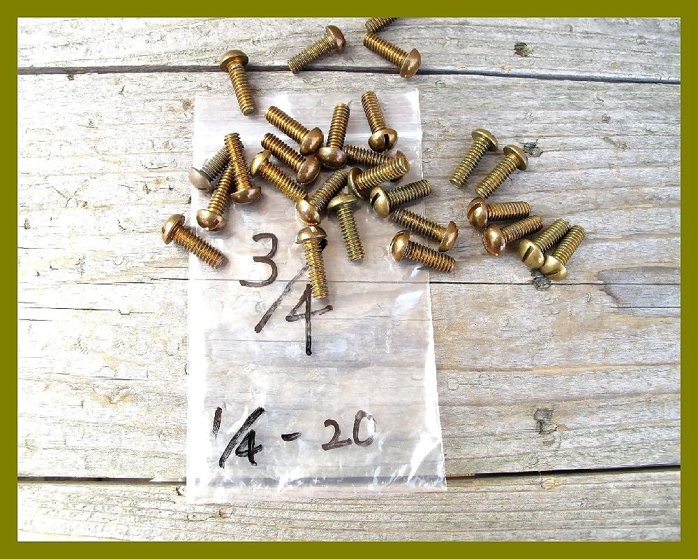 【M】USA UNC インチネジ 真鍮ブラス 太さ1/4山数20長さ3/4 5本 直径6.35mm アメリカ ハーレー マイナス ラウンドヘッド _画像5