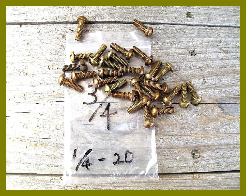 【M】USA UNC インチネジ 真鍮ブラス 太さ1/4山数20長さ3/4 5本 直径6.35mm アメリカ ハーレー マイナス ラウンドヘッド _画像1