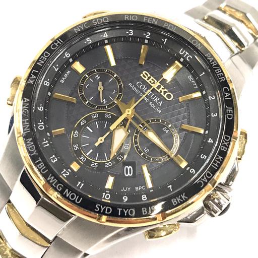 セイコー コーチュラ クロノグラフ ソーラー 電波 デイト 腕時計 8B92-0AL0 メンズ 稼働品 黒文字盤 純正ブレス SEIKO
