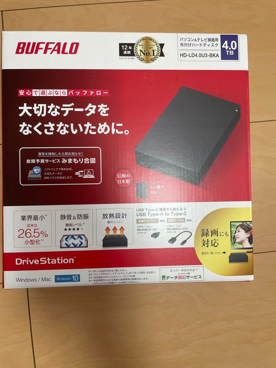 HD-LD4.0U3-BKA バッファロー外付けHDD 4TB(ブラック)