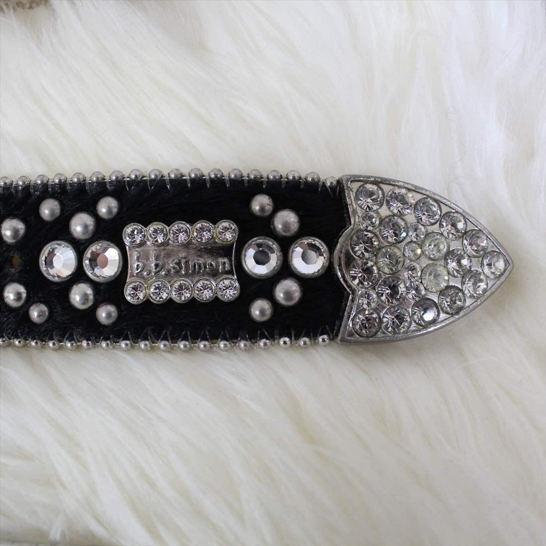 ビービーサイモン B.B.SIMON レザーベルト ブラック アウトレット 革 アメリカ製 Lサイズ 幅4cmタイプ 男女兼用 メンズ レディース_画像3