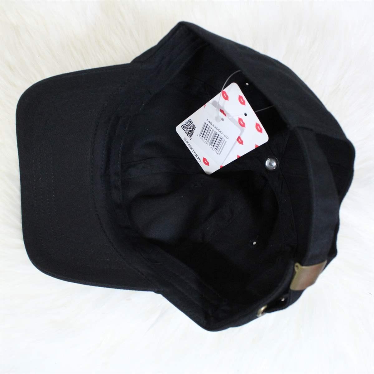 KISS TOKYO LIP LOGO LOW CAP サイドロゴ刺繍 ブラック キャップ 新品 黒 帽子_画像4