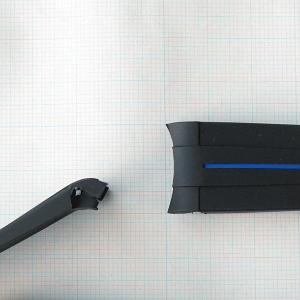 訳あり 腕時計ベルト 20mm 弓カン【ラバー 黒×ブルー】ピンバックル オーダーメイド風 エンドピースカーブ仕様 交換用バンド_画像6