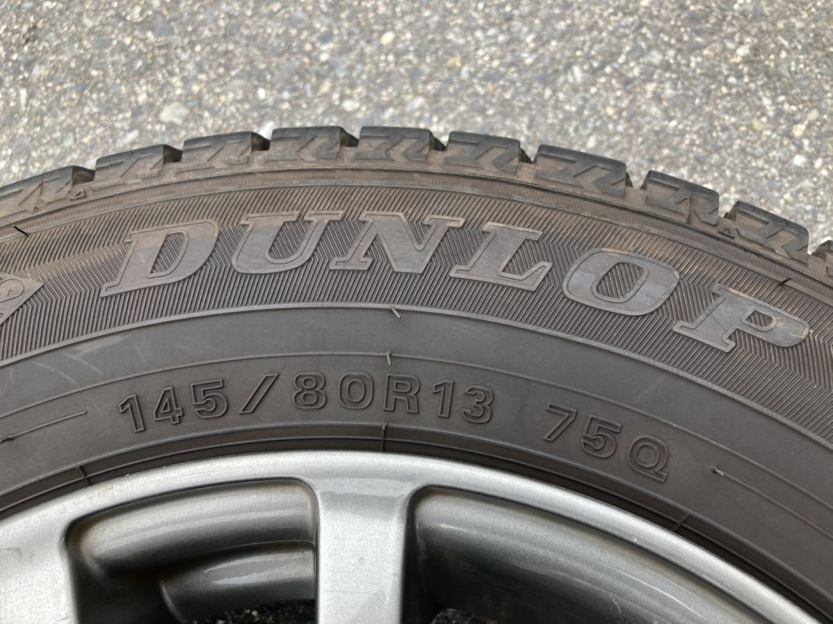 【中古】スタッドレスタイヤ DUNLOP WINTER MAXX 145/80R13 アルミホイール付き 4本セット 4~5分山_画像2