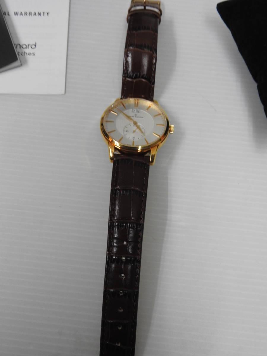 ☆美品 claude bernard クロード・ベルナール メンズ腕時計 64005 37R AIR 稼働確認済 BOX付き ☆_画像3