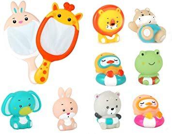 JoyGrow お風呂おもちゃ 水遊びおもちゃ シャワー 動物すくい 漁網2本 お風呂遊び プールトイ 噴水 音出す動物 カエル_画像1