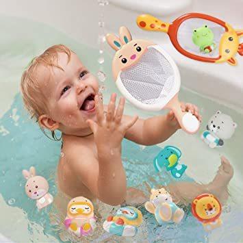 JoyGrow お風呂おもちゃ 水遊びおもちゃ シャワー 動物すくい 漁網2本 お風呂遊び プールトイ 噴水 音出す動物 カエル_画像7