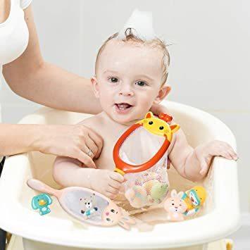 JoyGrow お風呂おもちゃ 水遊びおもちゃ シャワー 動物すくい 漁網2本 お風呂遊び プールトイ 噴水 音出す動物 カエル_画像8