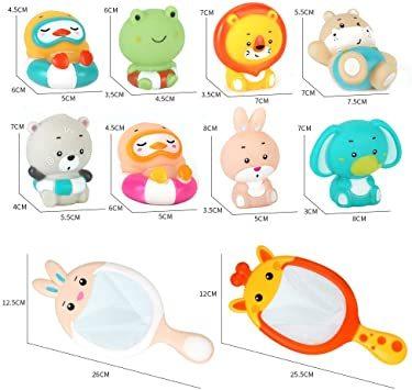 JoyGrow お風呂おもちゃ 水遊びおもちゃ シャワー 動物すくい 漁網2本 お風呂遊び プールトイ 噴水 音出す動物 カエル_画像6