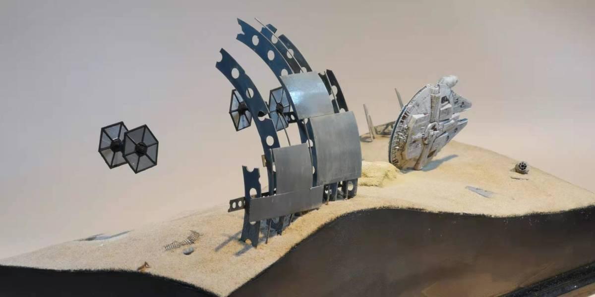 ジオラマ 1/350スケール スターウォーズ ミレニアムファルコンの追い討ち オリジナル製作_画像3