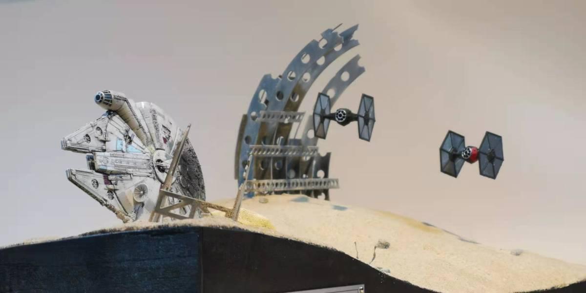 ジオラマ 1/350スケール スターウォーズ ミレニアムファルコンの追い討ち オリジナル製作_画像7