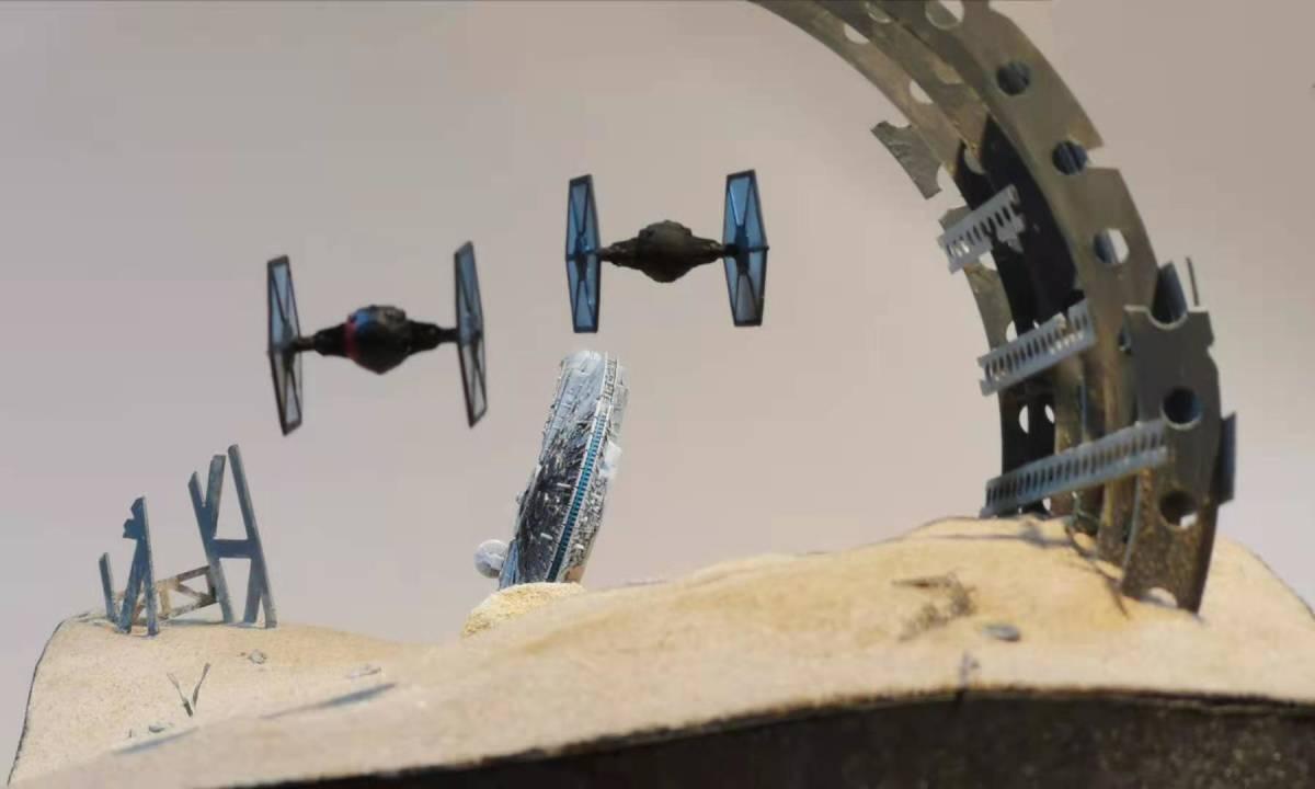 ジオラマ 1/350スケール スターウォーズ ミレニアムファルコンの追い討ち オリジナル製作_画像2