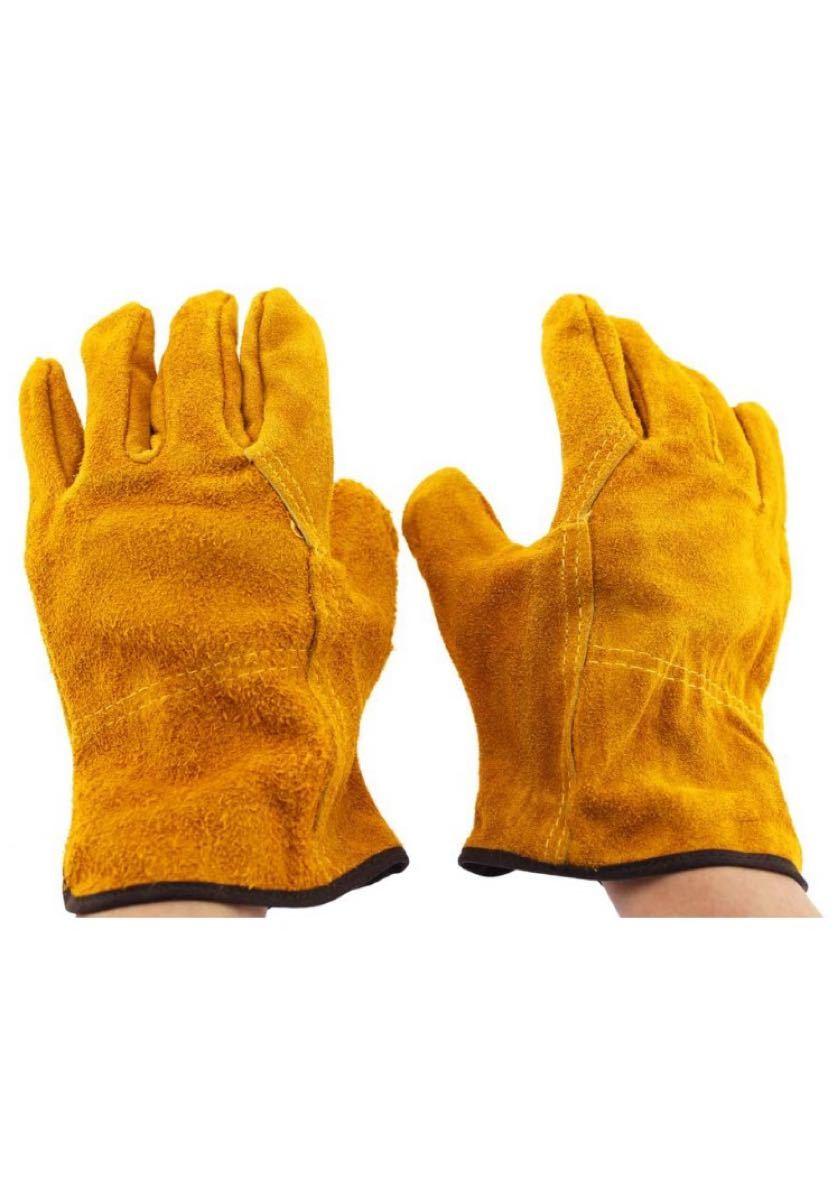耐熱グローブ 革手袋 キャンプ バーベキュー 焚き火 作業手袋 牛革