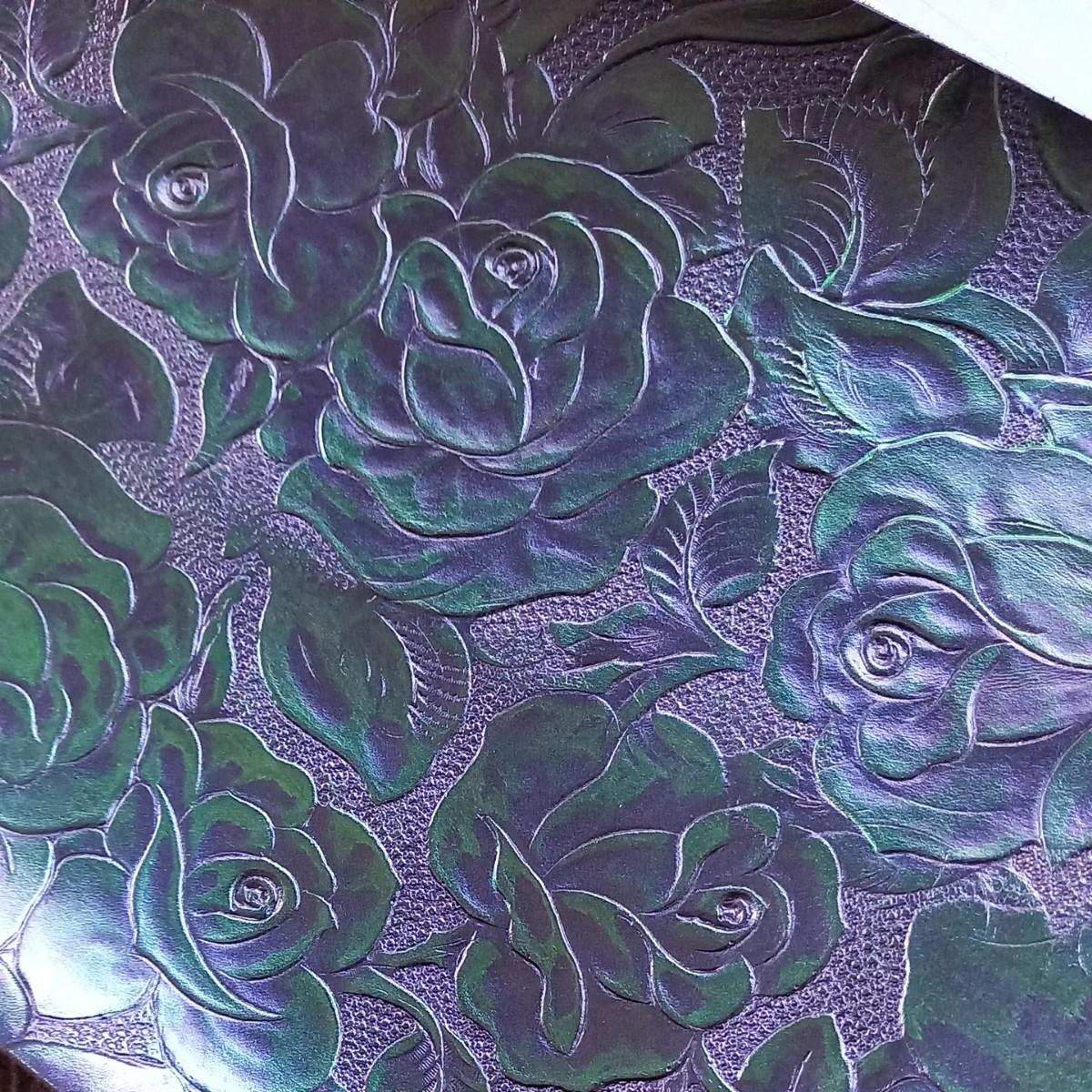sale革ハギレ 薔薇型押し パールネイビーグリーン レザークラフト