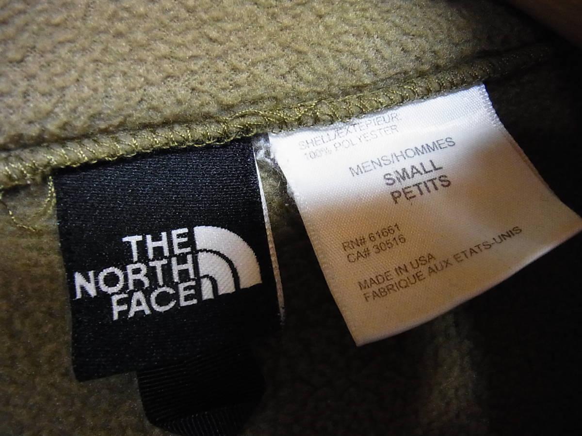 アメリカ製 THE NORTH FACE ザノースフェイス ジップアップ フリースジャケット カーキ サイズS_画像7