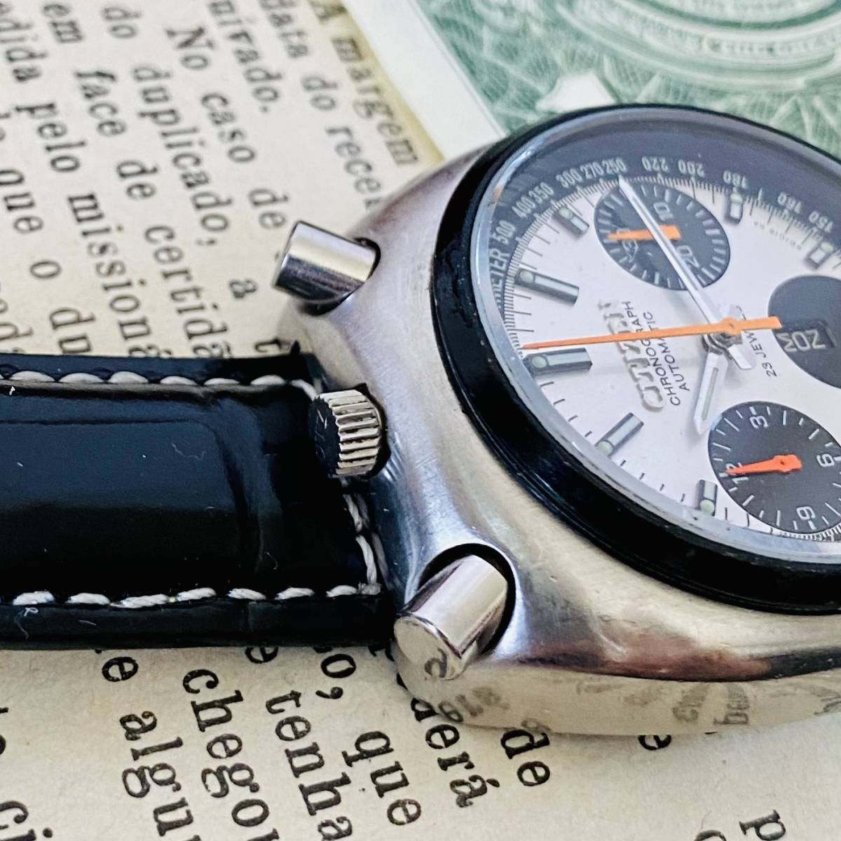 【高級腕時計 シチズン】CITIZEN 8110A クロノグラフ 自動巻 1979年 デイデイト ツノ メンズ レディース アナログ パンダ チャレンジ_画像7