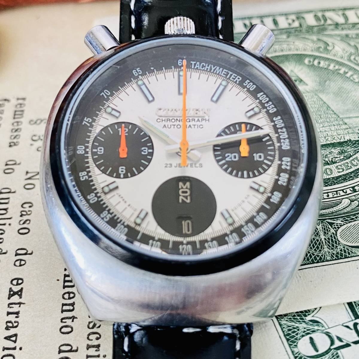 【高級腕時計 シチズン】CITIZEN 8110A クロノグラフ 自動巻 1979年 デイデイト ツノ メンズ レディース アナログ パンダ チャレンジ_画像5