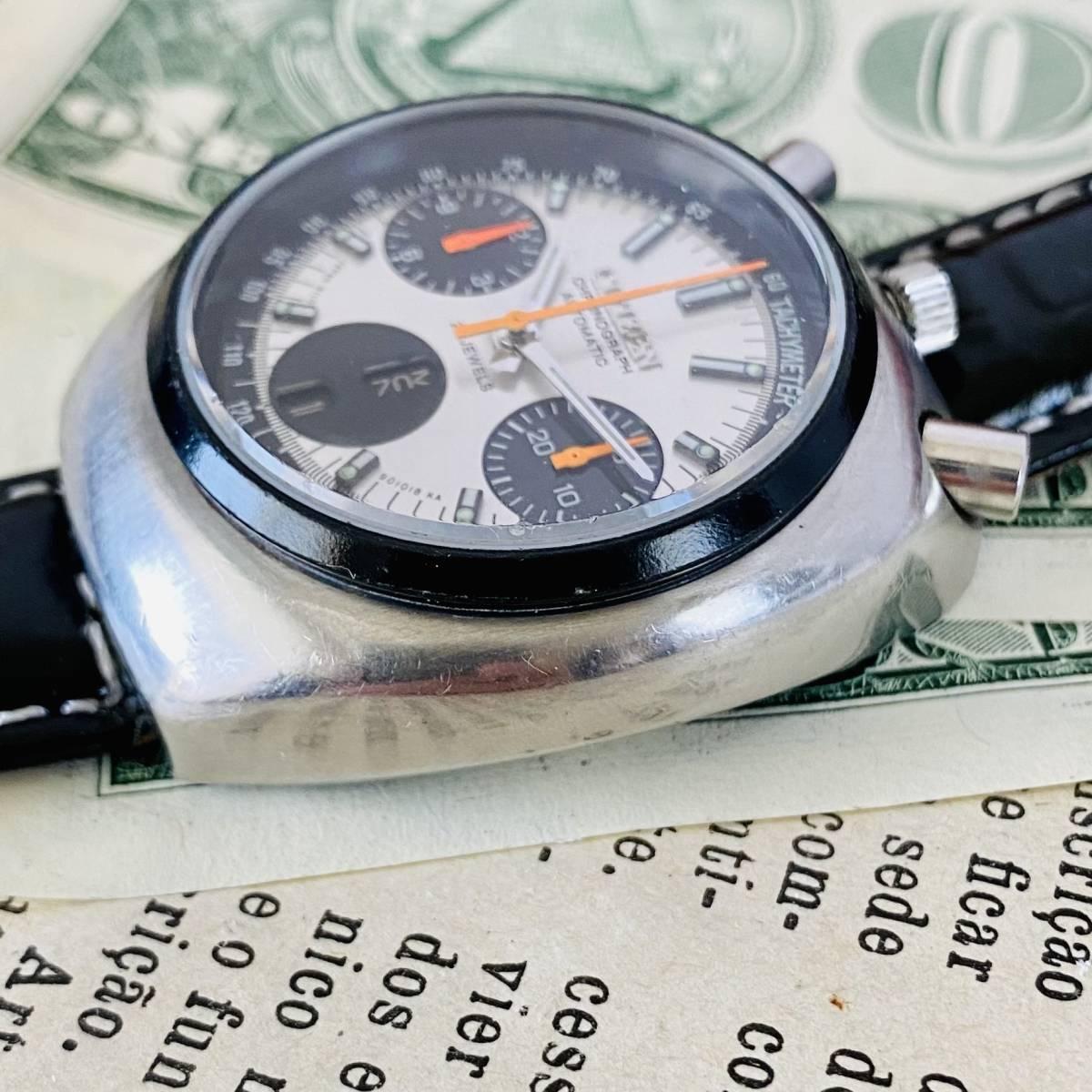 【高級腕時計 シチズン】CITIZEN 8110A クロノグラフ 自動巻 1979年 デイデイト ツノ メンズ レディース アナログ パンダ チャレンジ_画像4