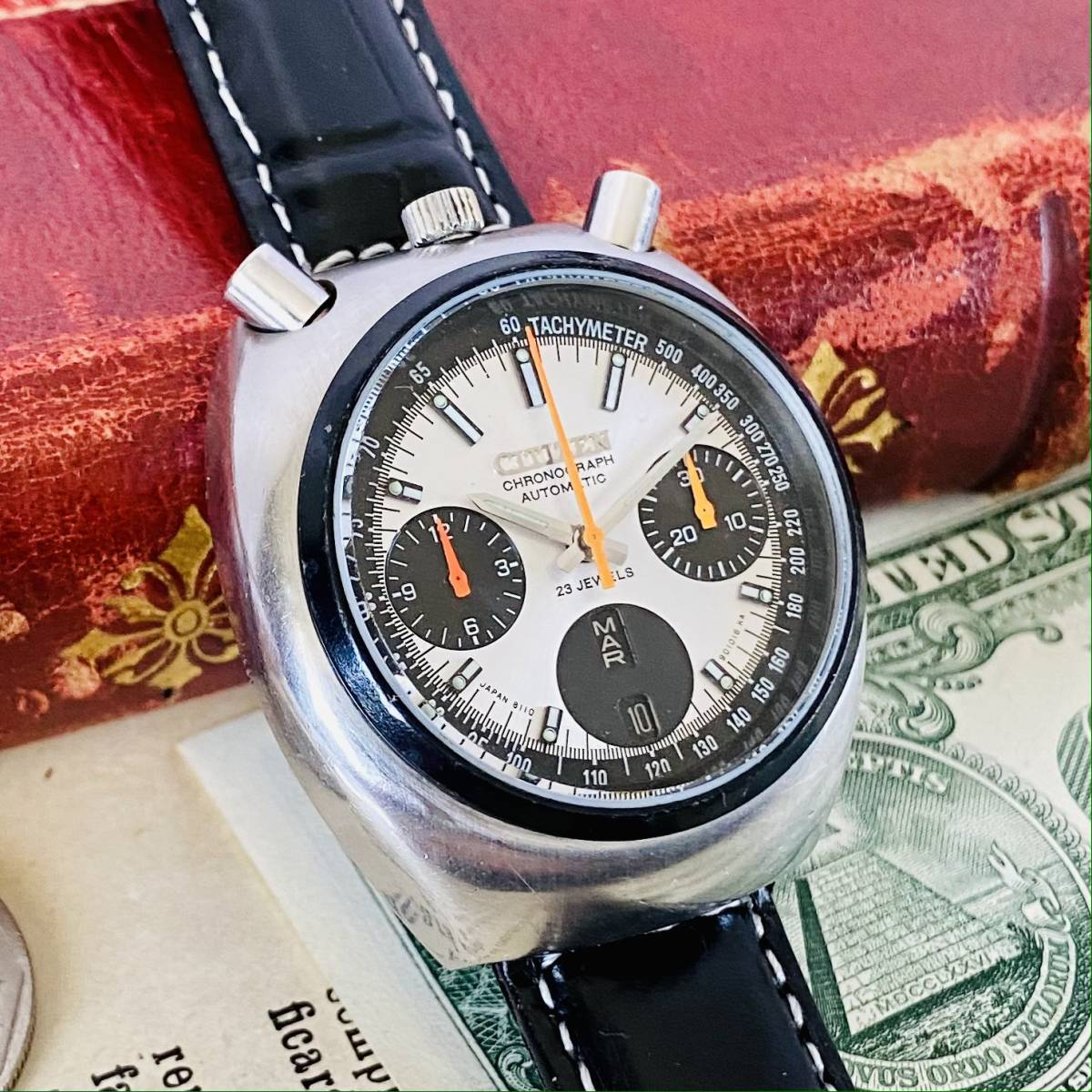 【高級腕時計 シチズン】CITIZEN 8110A クロノグラフ 自動巻 1979年 デイデイト ツノ メンズ レディース アナログ パンダ チャレンジ_画像2