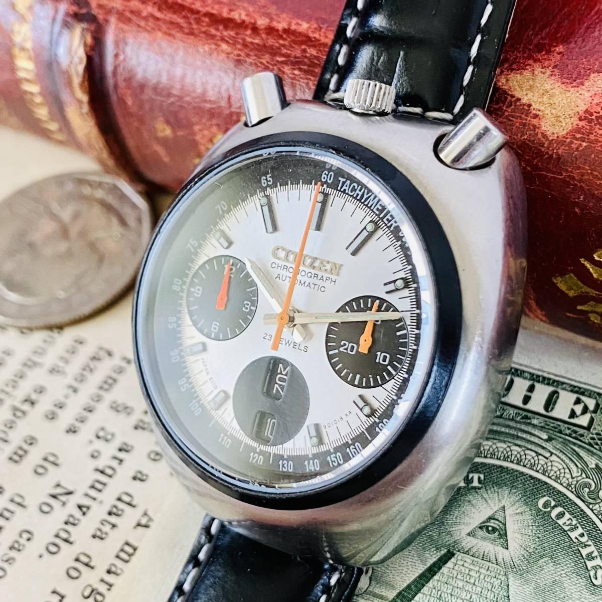 【高級腕時計 シチズン】CITIZEN 8110A クロノグラフ 自動巻 1979年 デイデイト ツノ メンズ レディース アナログ パンダ チャレンジ_画像1