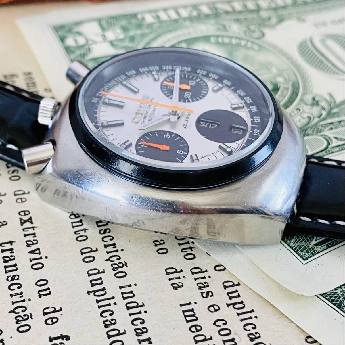 【高級腕時計 シチズン】CITIZEN 8110A クロノグラフ 自動巻 1979年 デイデイト ツノ メンズ レディース アナログ パンダ チャレンジ_画像6