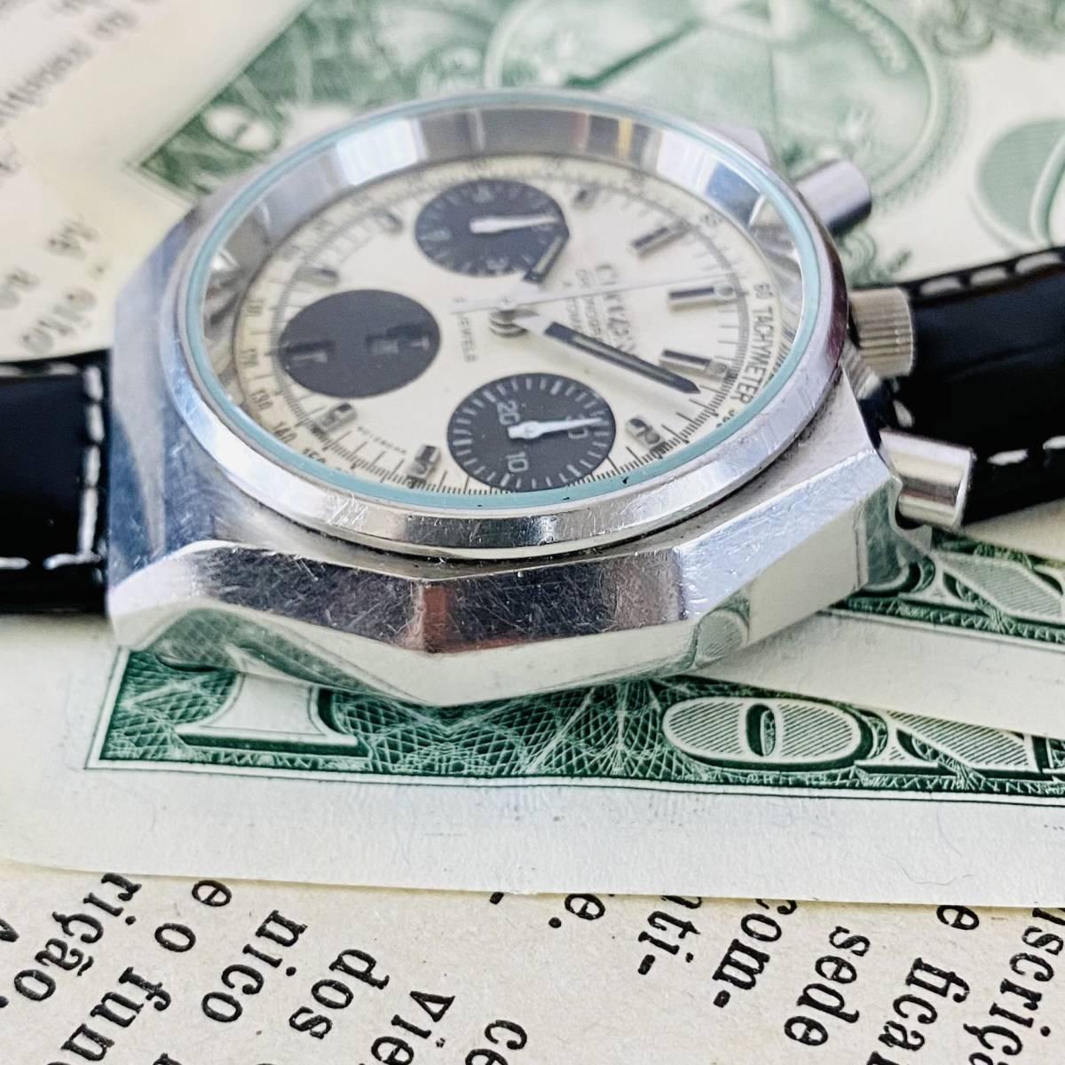 【高級時計 シチズン】CITIZEN 8110A クロノグラフ 自動巻 1980年代 ツノ メンズ レディース ビンテージ アナログ 腕時計パンダ チャレンジ_画像4