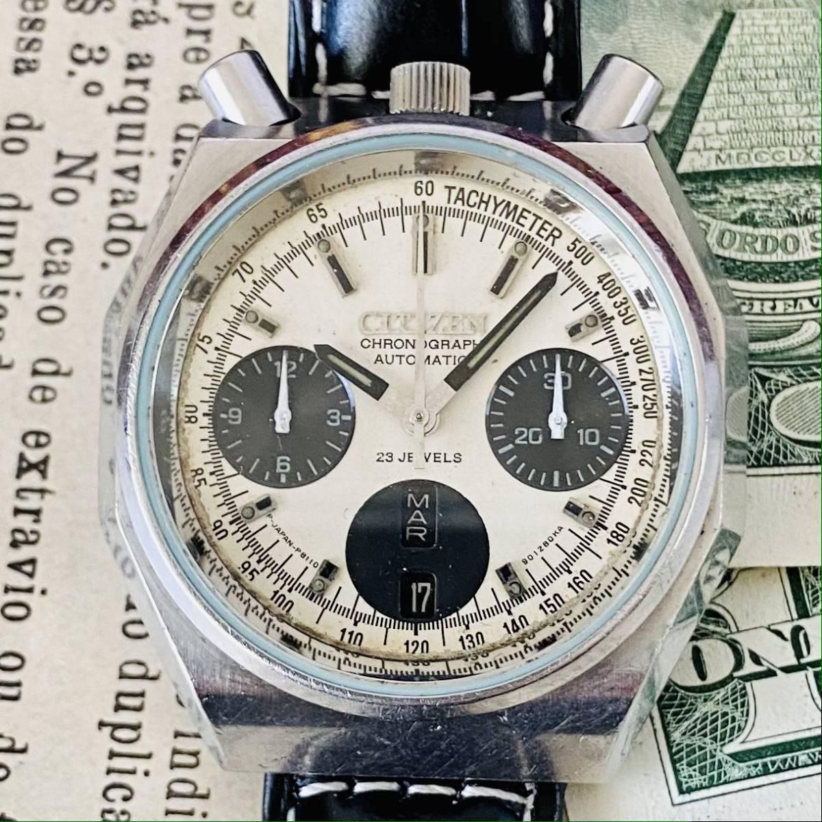 【高級時計 シチズン】CITIZEN 8110A クロノグラフ 自動巻 1980年代 ツノ メンズ レディース ビンテージ アナログ 腕時計パンダ チャレンジ_画像5