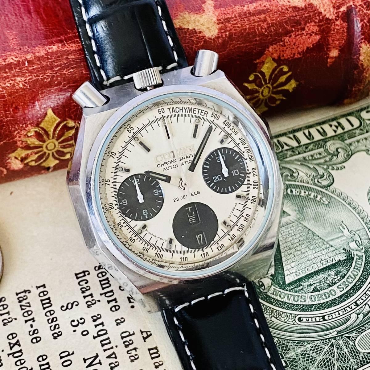 【高級時計 シチズン】CITIZEN 8110A クロノグラフ 自動巻 1980年代 ツノ メンズ レディース ビンテージ アナログ 腕時計パンダ チャレンジ_画像3