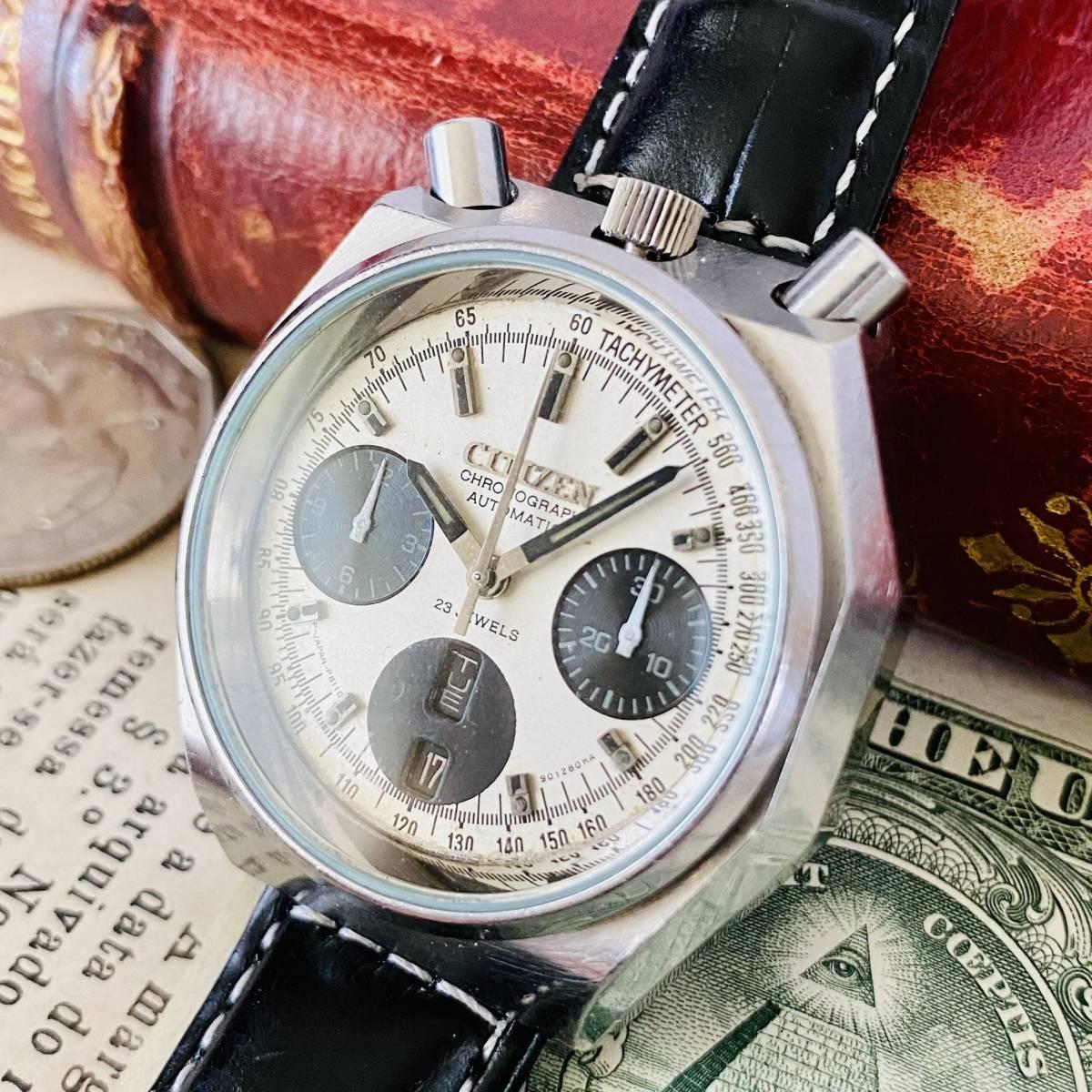 【高級時計 シチズン】CITIZEN 8110A クロノグラフ 自動巻 1980年代 ツノ メンズ レディース ビンテージ アナログ 腕時計パンダ チャレンジ_画像1