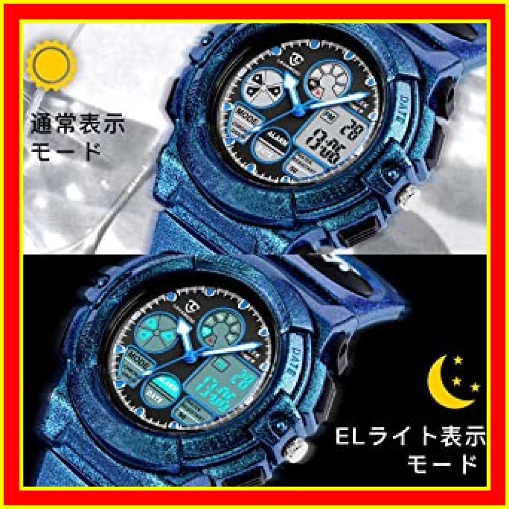 9.6-ブルー 子供腕時計 ボーイズスポーツウォッチ アウトドア多機能防水 アラート 日付曜日表示 デュアルタイム LED アナ_画像3