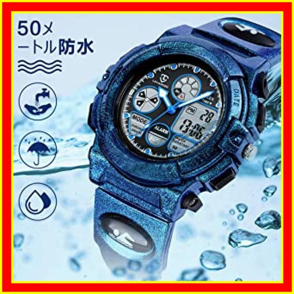 9.6-ブルー 子供腕時計 ボーイズスポーツウォッチ アウトドア多機能防水 アラート 日付曜日表示 デュアルタイム LED アナ_画像6
