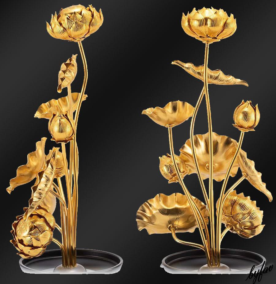 【金色の蓮華】 常花 蓮花 日本製 一対セット 花葉本数:9本 高さ:4寸(14cm) インテリア 飾り 装飾 お葬式 法事 仏壇用 仏具