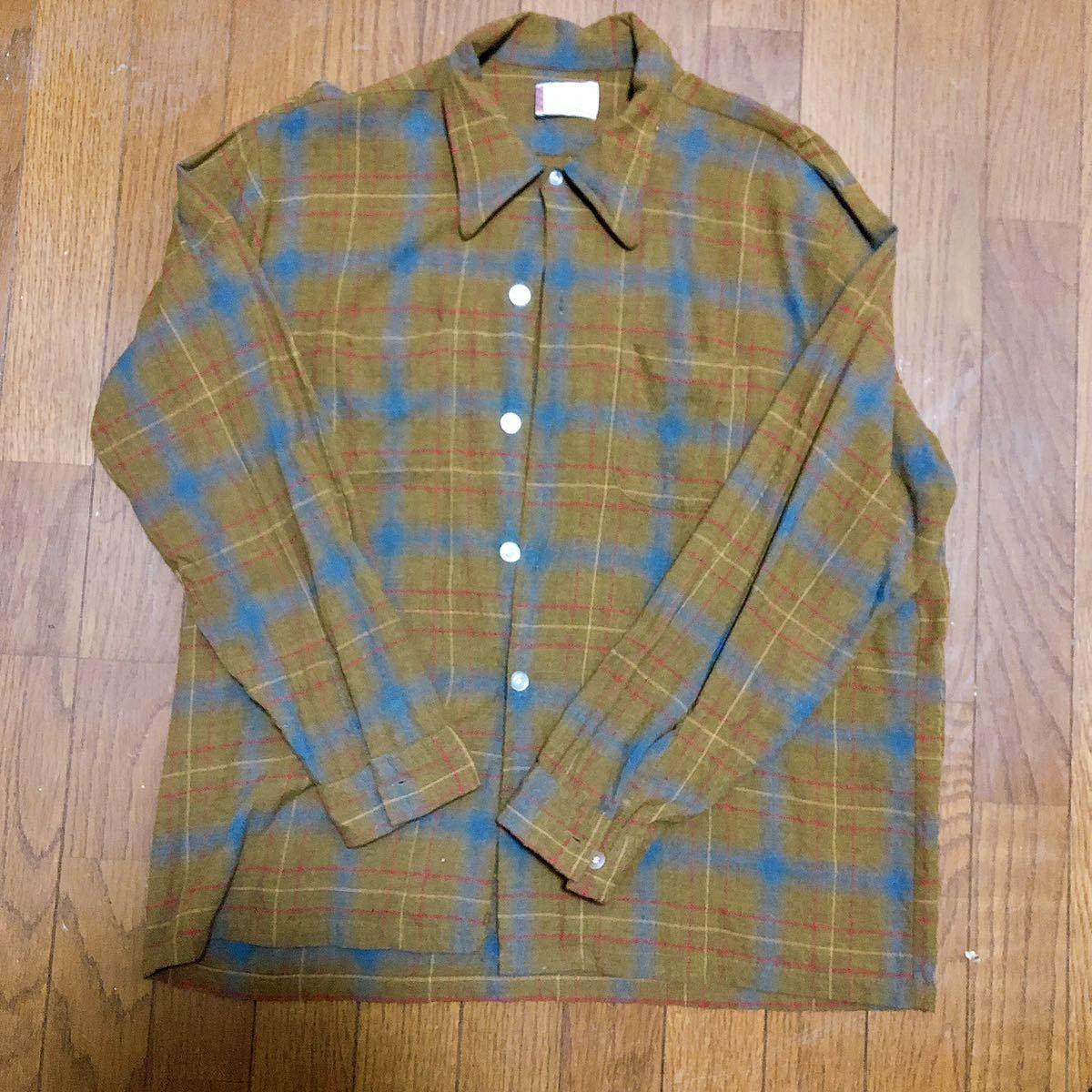 Vintage レーヨン チェックシャツ XL 長袖シャツ チェックシャツ ビンテージ タウンクラフト_画像1