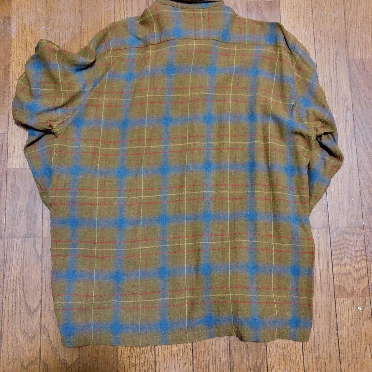 Vintage レーヨン チェックシャツ XL 長袖シャツ チェックシャツ ビンテージ タウンクラフト_画像2