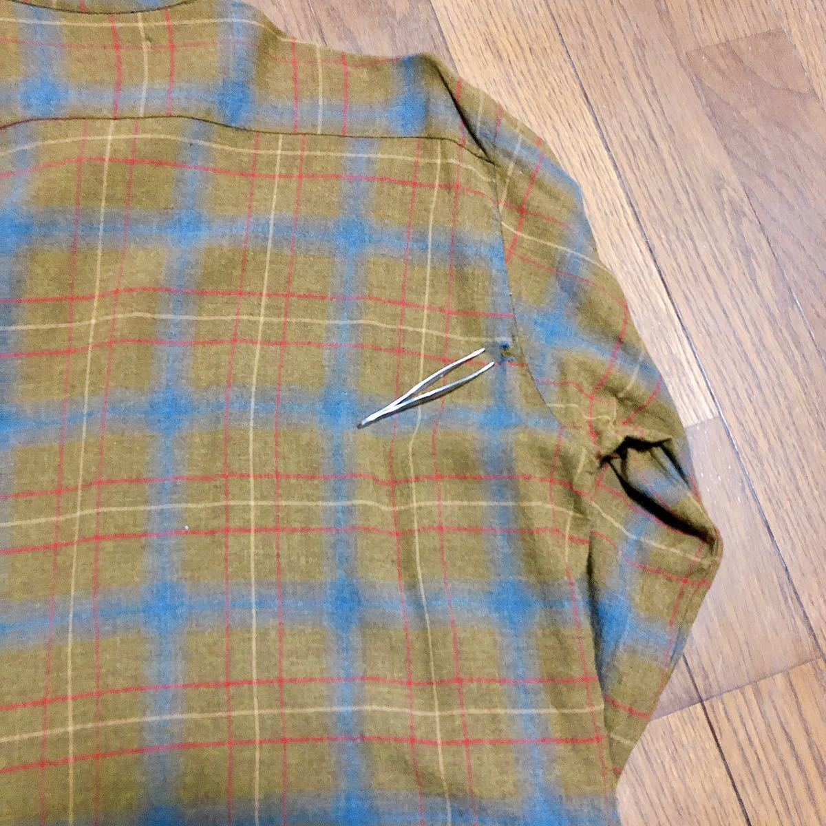 Vintage レーヨン チェックシャツ XL 長袖シャツ チェックシャツ ビンテージ タウンクラフト_画像5