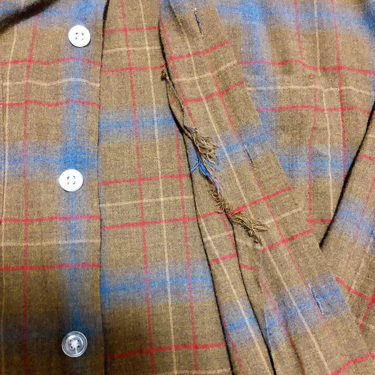 Vintage レーヨン チェックシャツ XL 長袖シャツ チェックシャツ ビンテージ タウンクラフト_画像4