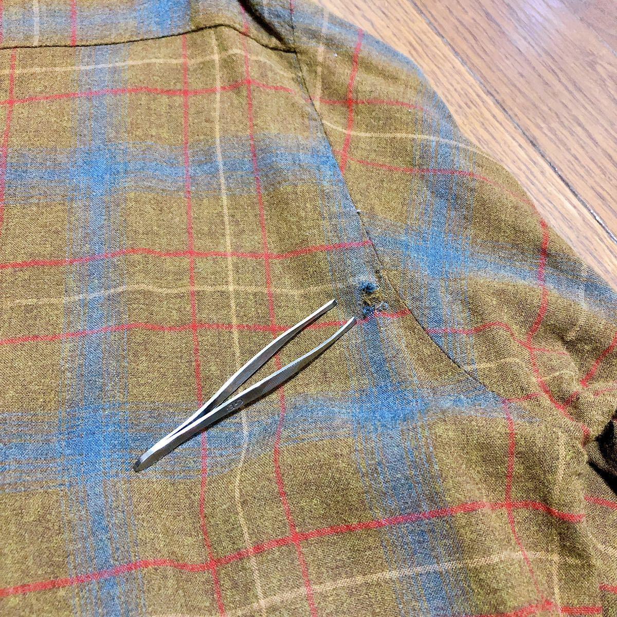 Vintage レーヨン チェックシャツ XL 長袖シャツ チェックシャツ ビンテージ タウンクラフト_画像6