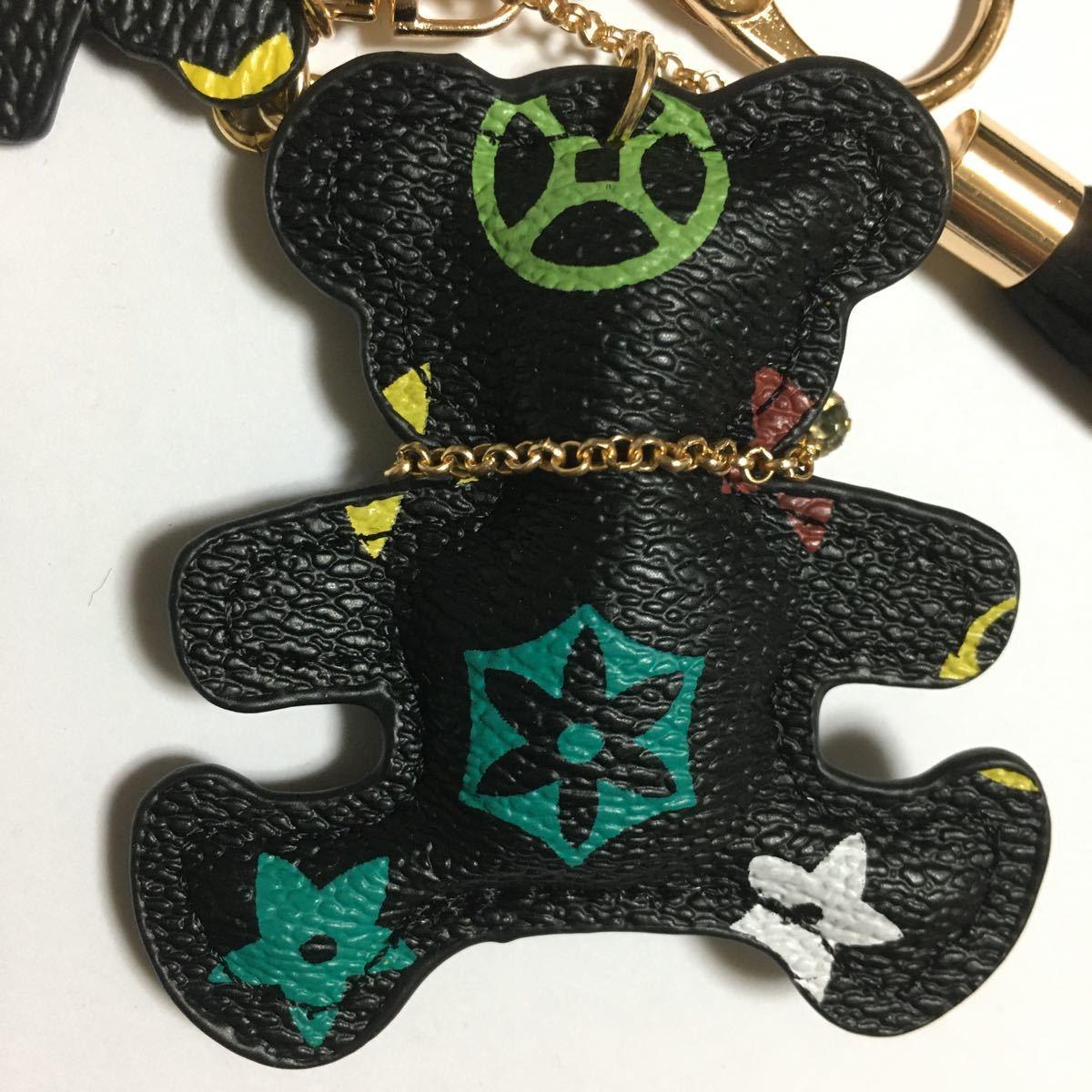 新品PUレザーくまの親子キーホルダー/ブラックフラワー/キーリング/キーチェーン/チャーム/ファッション小物