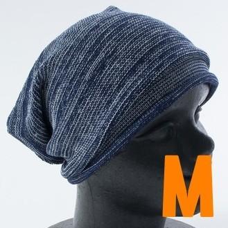 コットン オールシーズン ニット帽 サマーニット帽 ニットキャップ M フリーサイズ メンズ レディース ネイビー 通気性 無地